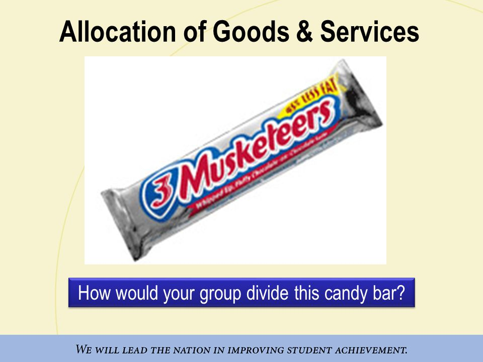 Allocation of Goods & Services How would your group divide this candy bar