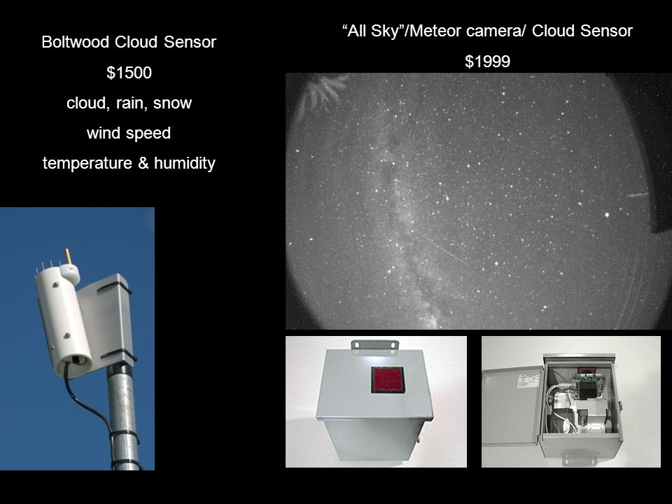 COMPUTER stuff Computer to run equipment to control telescopes Server system to store images Real time images available 24/7 (intervals) Images are archived Images can be downloaded On-screen information: Date, time, filter, device, FoV, RA & Dec, Alt & Az, … Daytime images – Sun: 1 visible, 1 Hα & 1 CaK; images of Moon, Jupiter, Venus (if any in sky) Nighttime images – all night, pre-programed to view various solar system and deep-sky objects
