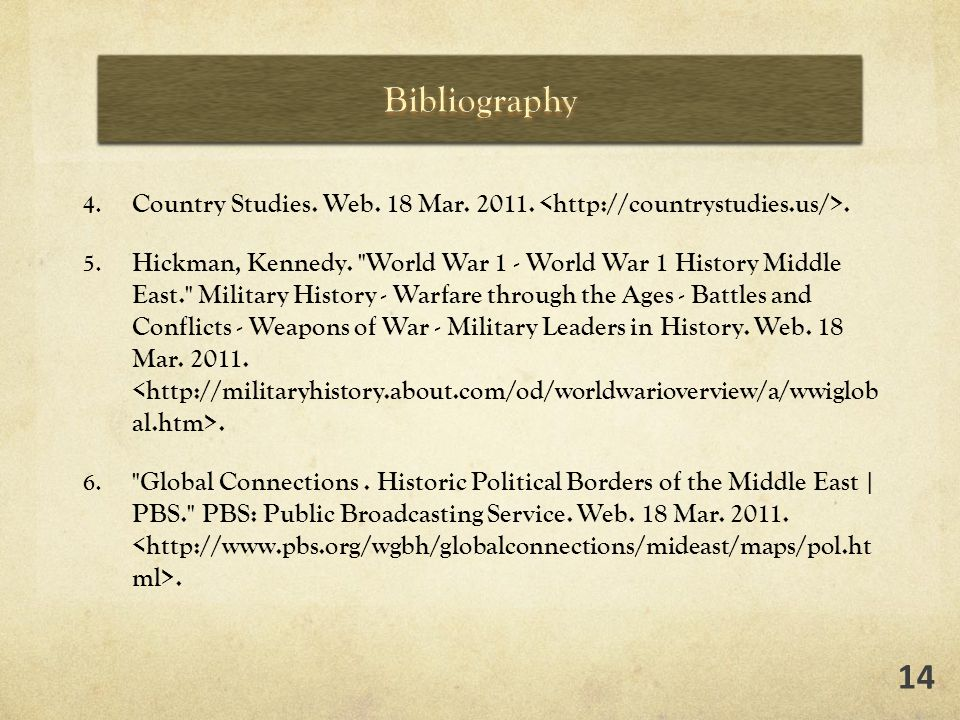 4. Country Studies. Web. 18 Mar. 2011.. 5. Hickman, Kennedy.