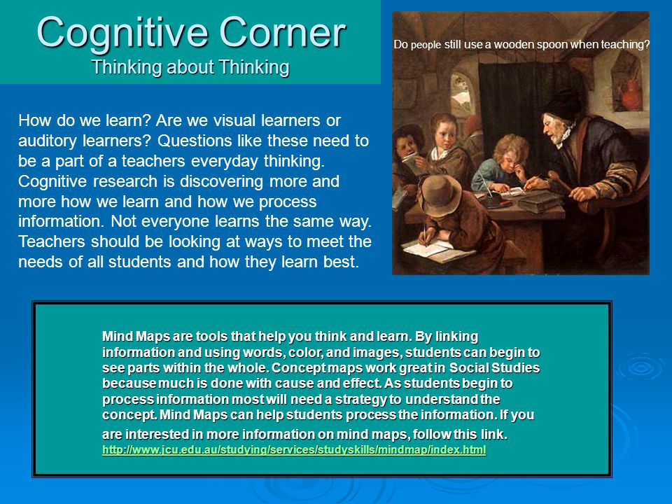 Cognitive Corner Thinking about Thinking How do we learn.
