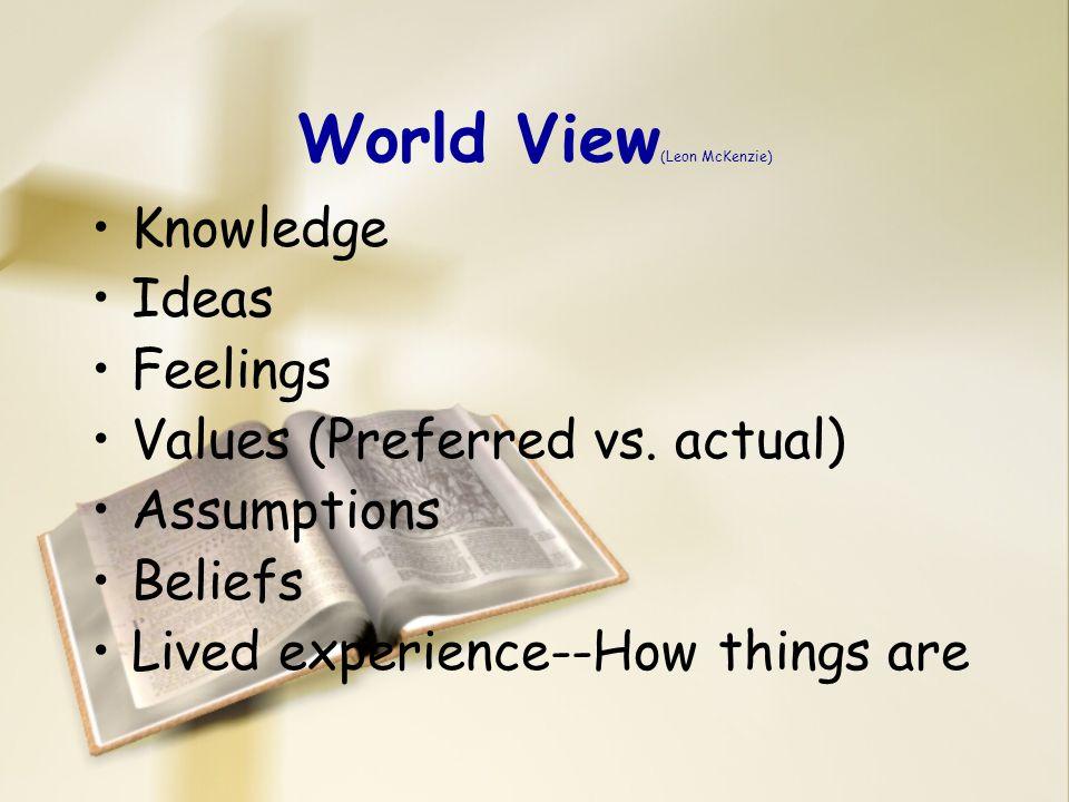 Types of World Views (McKenzie) Provisional vs.Fixed Inclusive vs.