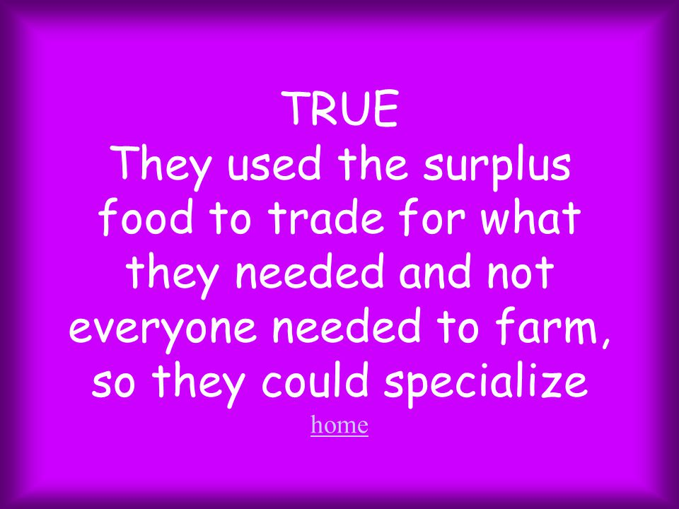 TRUE They used the surplus food to trade for what they needed and not everyone needed to farm, so they could specialize home home