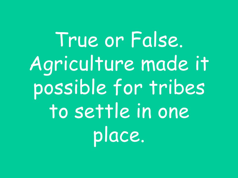 True or False. Agriculture made it possible for tribes to settle in one place.