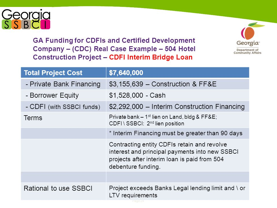 Page 24 GA Funding for CDFIs and Certified Development Company – (CDC) Real Case Example – 504 Hotel Construction Project – CDFI Interim Bridge Loan Total Project Cost$7,640,000 - Private Bank Financing$3,155,639 – Construction & FF&E - Borrower Equity$1,528,000 - Cash - CDFI (with SSBCI funds) $2,292,000 – Interim Construction Financing Terms Private bank – 1 st lien on Land, bldg & FF&E; CDFI \ SSBCI: 2 nd lien position * Interim Financing must be greater than 90 days Contracting entity CDFIs retain and revolve interest and principal payments into new SSBCI projects after interim loan is paid from 504 debenture funding.
