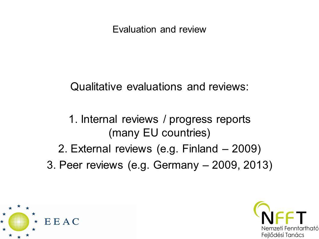 Evaluation and review Qualitative evaluations and reviews: 1.