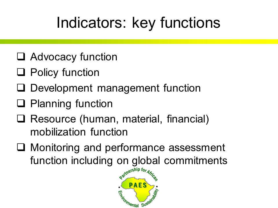 Indicators: key functions  Advocacy function  Policy function  Development management function  Planning function  Resource (human, material, fin