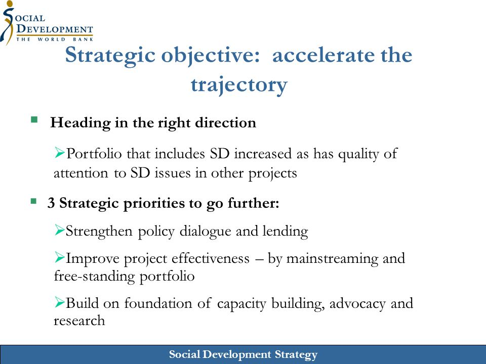 Social Development Strategy Strategic objective: accelerate the trajectory  Heading in the right direction  Portfolio that includes SD increased as