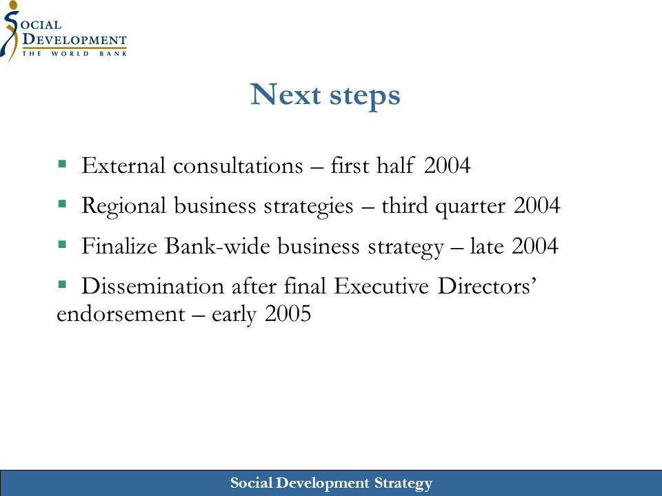 Social Development Strategy Next steps  External consultations – first half 2004  Regional business strategies – third quarter 2004  Finalize Bank-