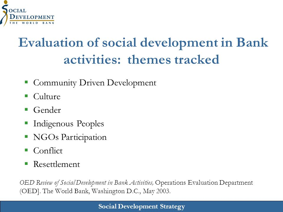 Social Development Strategy Priority 2: Improve the social development effectiveness of Bank-supported investment projects  Improve social analysis including efficiency improvements by relying on upstream work ;  Improve multi-stakeholder participation – to include better sustainability and monitoring;  Implement social safeguards more effectively; and  Improve mainstreaming of SD concerns into Bank- financed projects and project components and nurture SD portfolio.