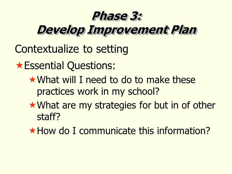 Phase 3: Develop Improvement Plan Contextualize to setting  Essential Questions:  What will I need to do to make these practices work in my school.