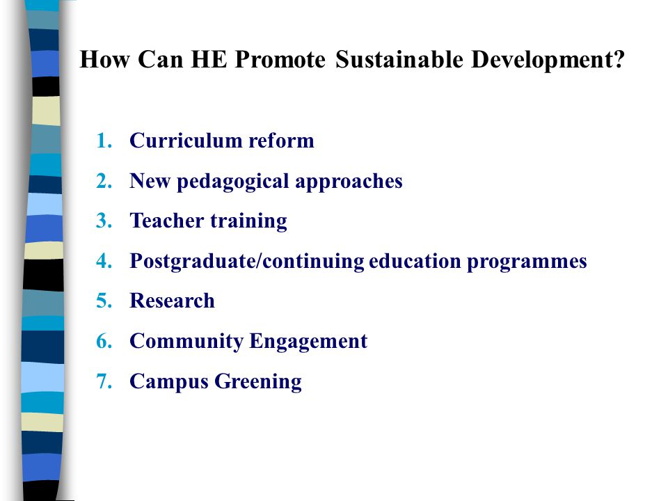 How Can HE Promote Sustainable Development? 1.Curriculum reform 2.New pedagogical approaches 3.Teacher training 4.Postgraduate/continuing education pr