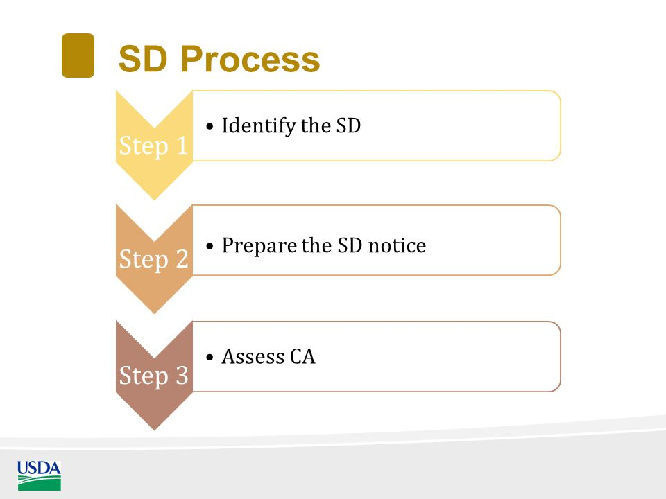 SD Process Step 1 Identify the SD Step 2 Prepare the SD notice Step 3 Assess CA