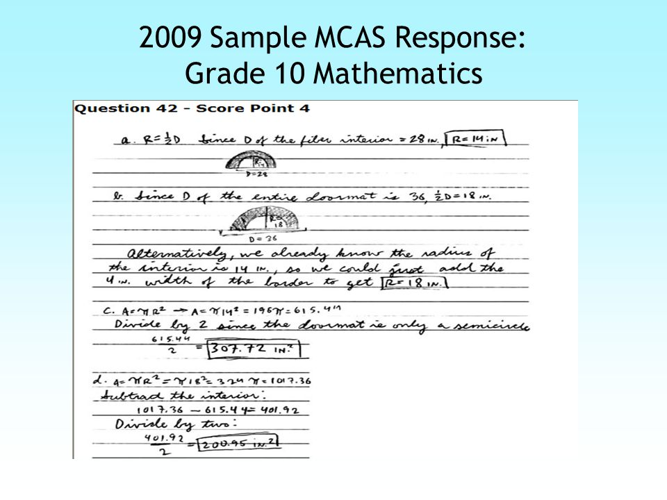 2009 Sample MCAS Response: Grade 10 Mathematics