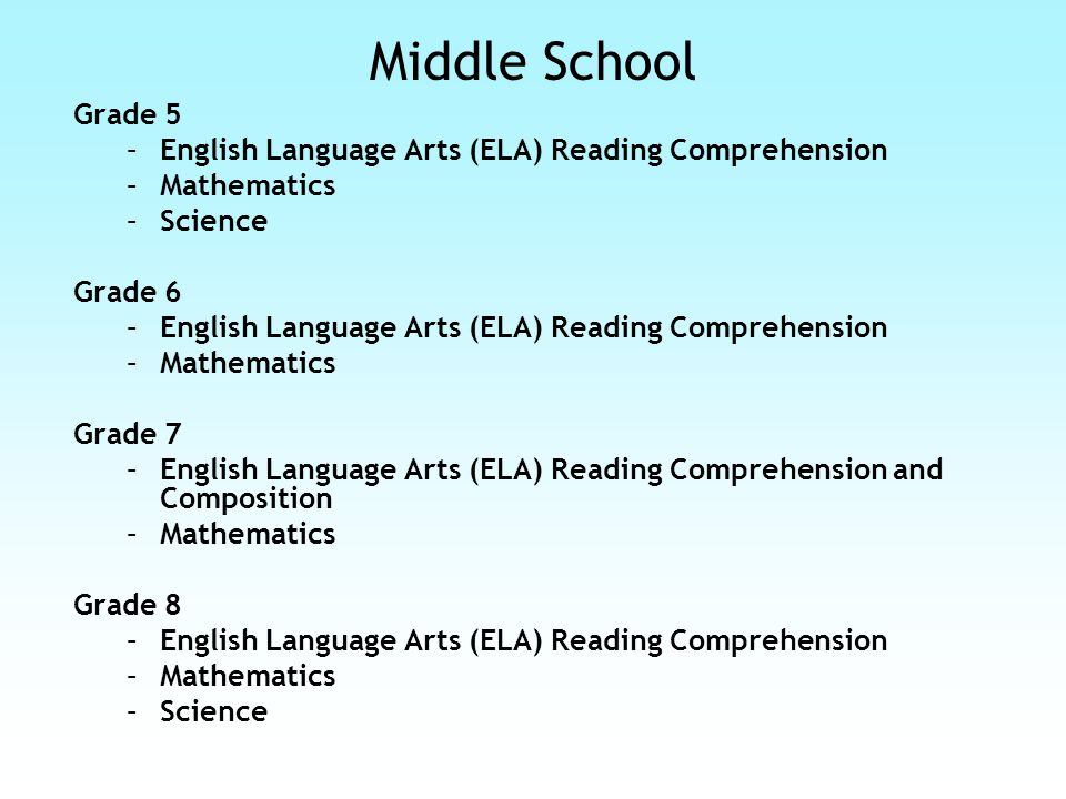 High School Grade 10 –English Language Arts (ELA) Reading Comprehension and Composition –Mathematics –Science