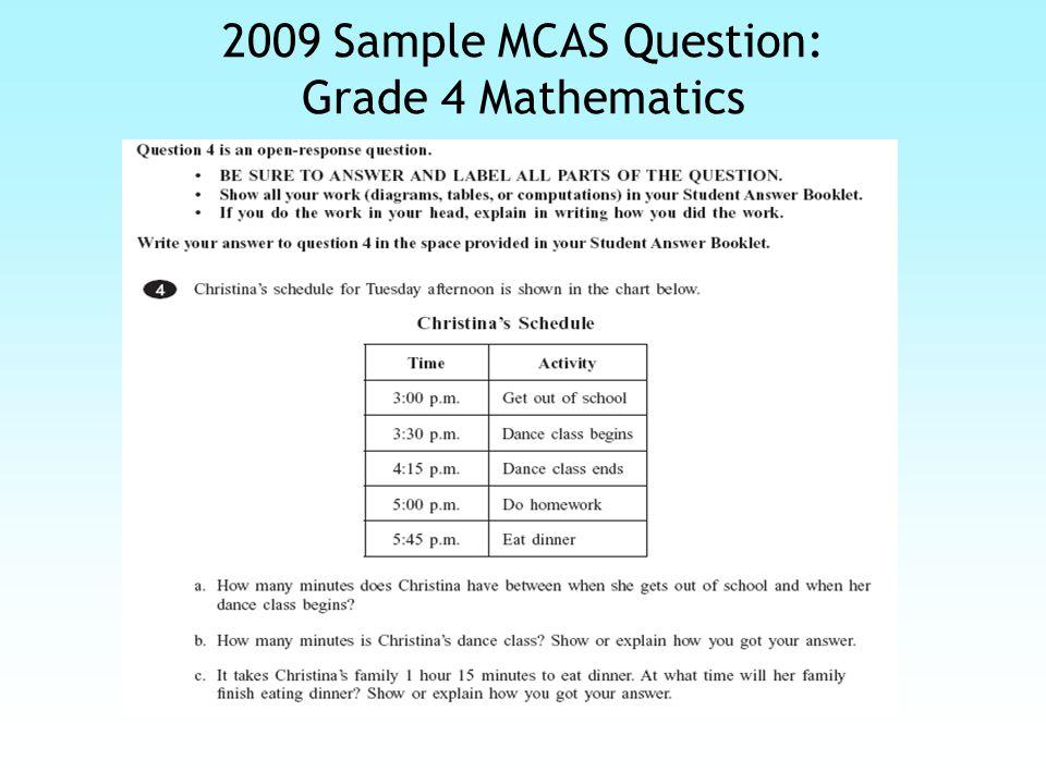 2009 Sample MCAS Response: Grade 4 Mathematics