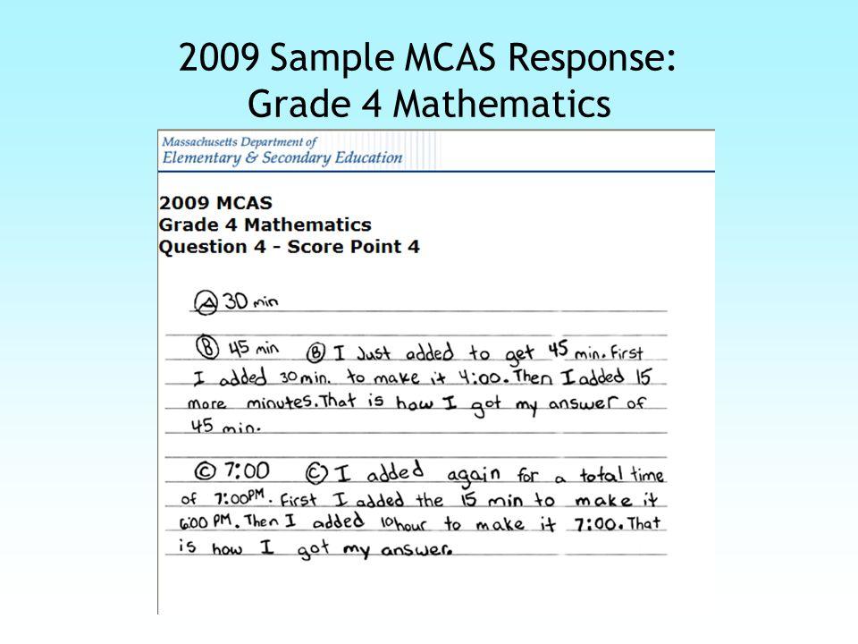 2009 Sample MCAS Scoring Guide: Grade 4 Mathematics