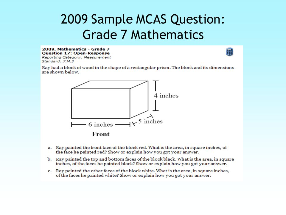 2009 Sample MCAS Question: Grade 7 Mathematics