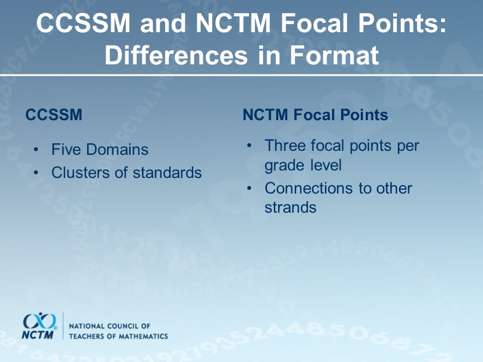 CCSSM and NCTM Focal Points: Differences in Format CCSSM Five Domains Clusters of standards NCTM Focal Points Three focal points per grade level Conne