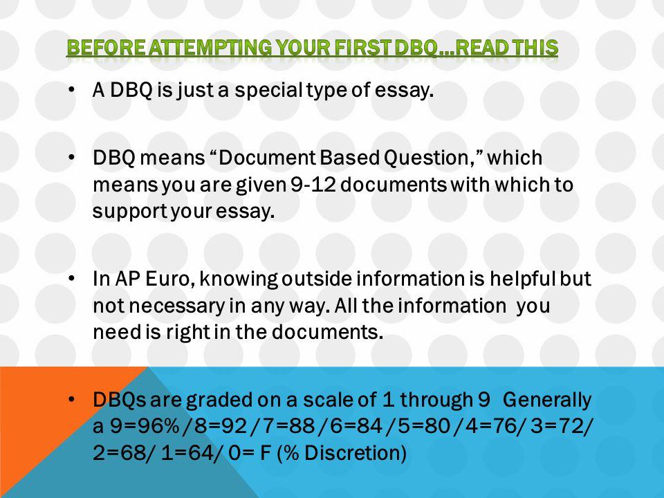 Each DBQ requires three basic parts to it.