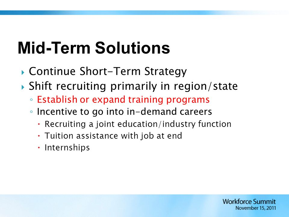  Continue Short-Term Strategy  Shift recruiting primarily in region/state ◦ Establish or expand training programs ◦ Incentive to go into in-demand c
