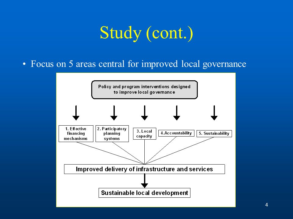 4 Study (cont.) Focus on 5 areas central for improved local governance