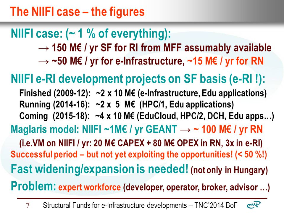 Nemzeti Információs Infrastruktúra Fejlesztési Intézet Structural Funds for e-Infrastructure developments – TNC ' 2014 BoF 8 Conclusions: Funding e-RI development: no more a bottleneck .