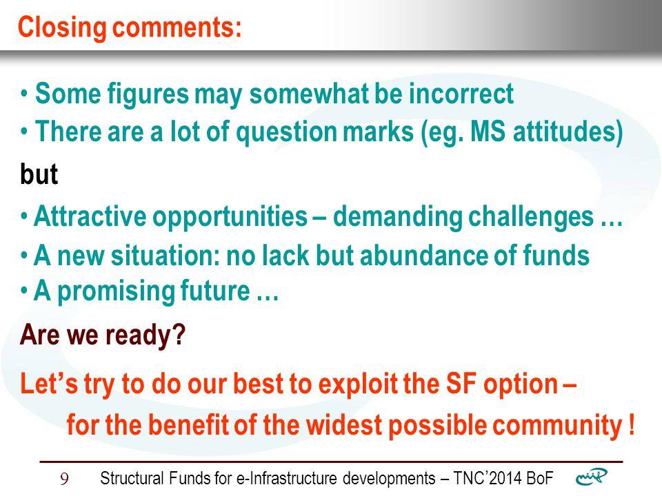 Nemzeti Információs Infrastruktúra Fejlesztési Intézet Structural Funds for e-Infrastructure developments – TNC ' 2014 BoF 9 Closing comments: Some figures may somewhat be incorrect There are a lot of question marks (eg.