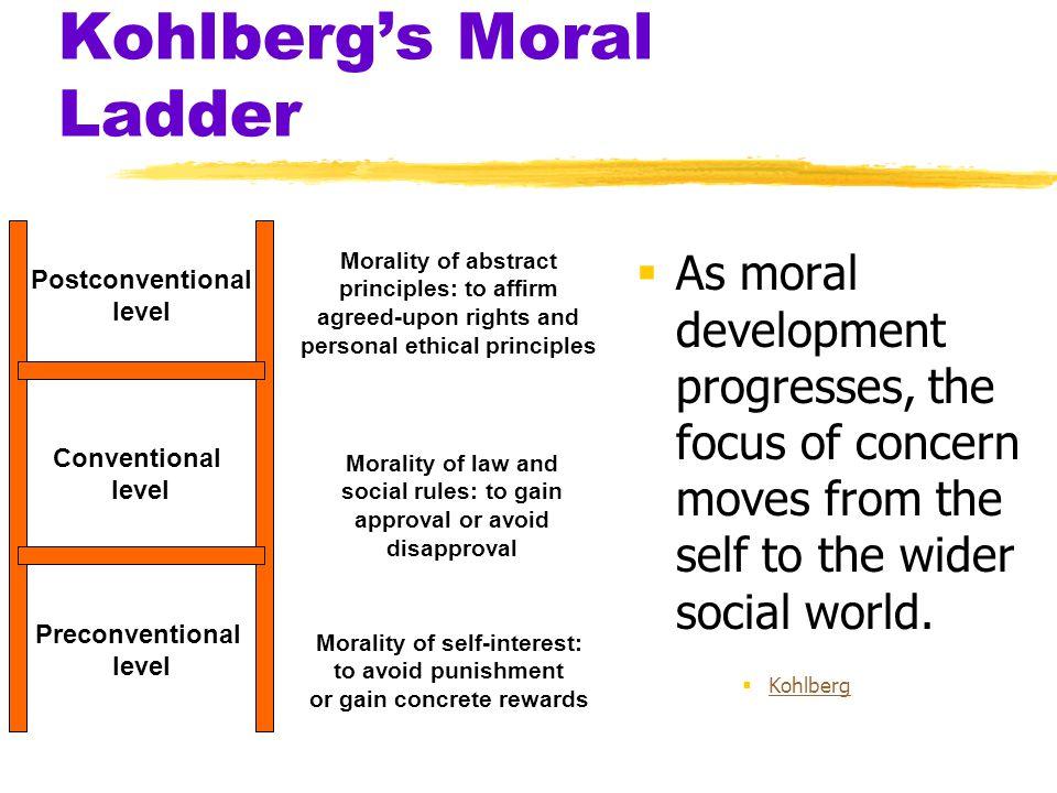 Kohlberg's Moral Ladder  As moral development progresses, the focus of concern moves from the self to the wider social world.  Kohlberg Kohlberg Mor