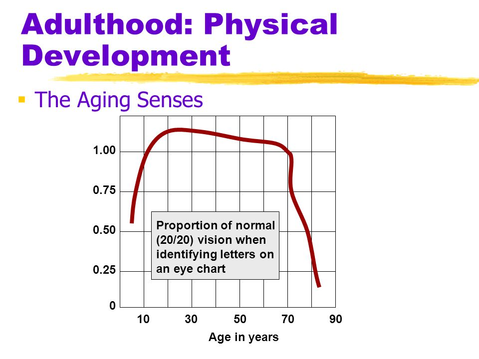 Adulthood: Physical Development  The Aging Senses 1030507090 0 0.25 0.50 0.75 1.00 Proportion of normal (20/20) vision when identifying letters on an