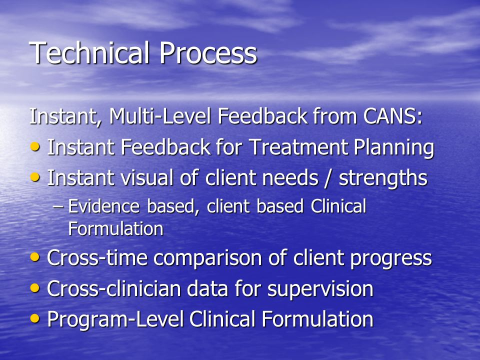 Technical Process Instant, Multi-Level Feedback from CANS: Instant Feedback for Treatment Planning Instant Feedback for Treatment Planning Instant visual of client needs / strengths Instant visual of client needs / strengths –Evidence based, client based Clinical Formulation Cross-time comparison of client progress Cross-time comparison of client progress Cross-clinician data for supervision Cross-clinician data for supervision Program-Level Clinical Formulation Program-Level Clinical Formulation