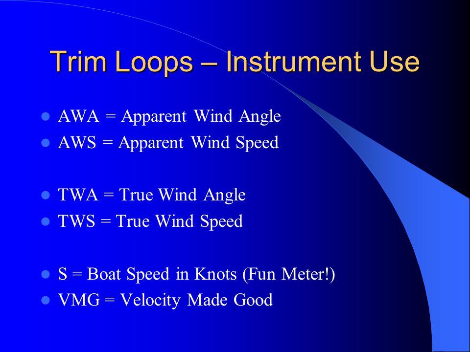 Trim Loops – Instrument Use AWA = Apparent Wind Angle AWS = Apparent Wind Speed TWA = True Wind Angle TWS = True Wind Speed S = Boat Speed in Knots (Fun Meter!) VMG = Velocity Made Good