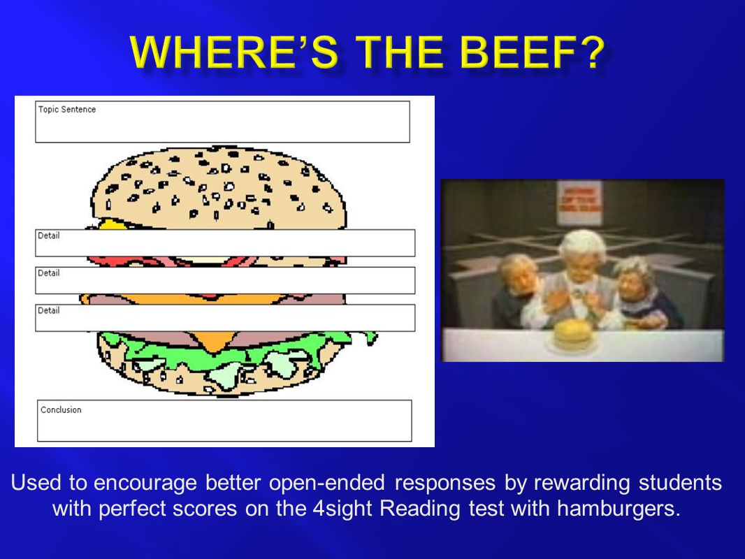 Used to encourage better open-ended responses by rewarding students with perfect scores on the 4sight Reading test with hamburgers.