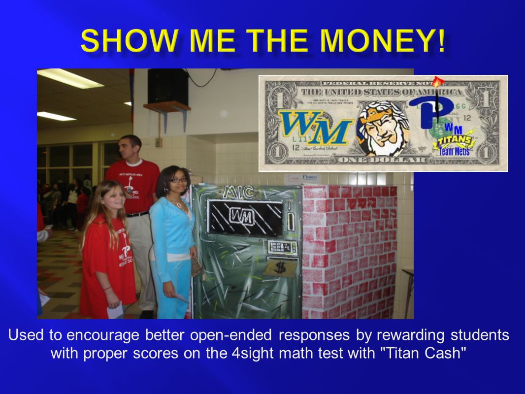 Used to encourage better open-ended responses by rewarding students with proper scores on the 4sight math test with Titan Cash