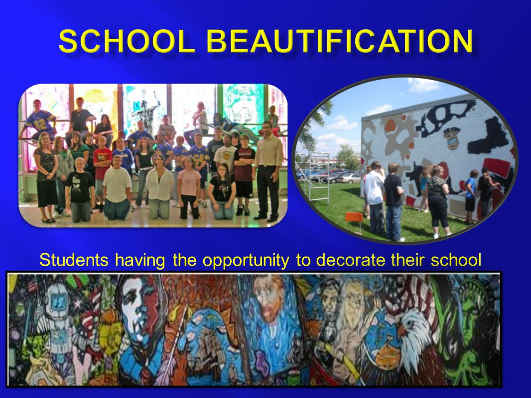 Students having the opportunity to decorate their school