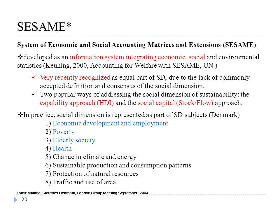 SESAME* 20 System of Economic and Social Accounting Matrices and Extensions (SESAME)  developed as an information system integrating economic, social