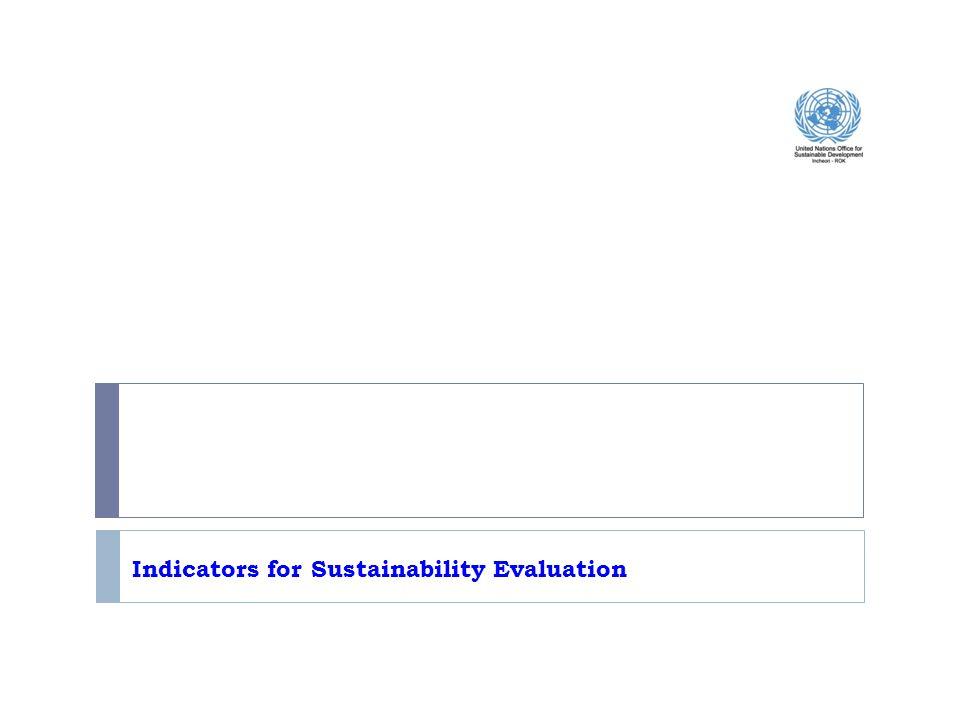 Indicators for Sustainability Evaluation