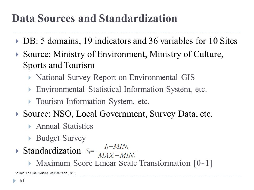 51 Data Sources and Standardization Source : Lee Jae-Hyuck & Lee Hee Yeon (2012)  DB: 5 domains, 19 indicators and 36 variables for 10 Sites  Source