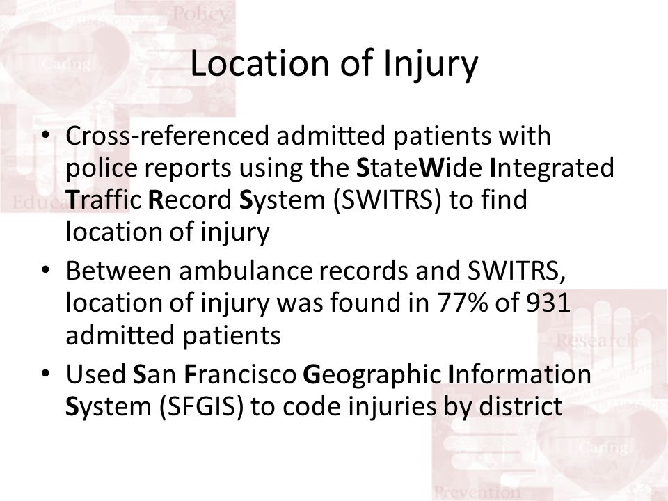 Location of Injury Cross-referenced admitted patients with police reports using the StateWide Integrated Traffic Record System (SWITRS) to find location of injury Between ambulance records and SWITRS, location of injury was found in 77% of 931 admitted patients Used San Francisco Geographic Information System (SFGIS) to code injuries by district