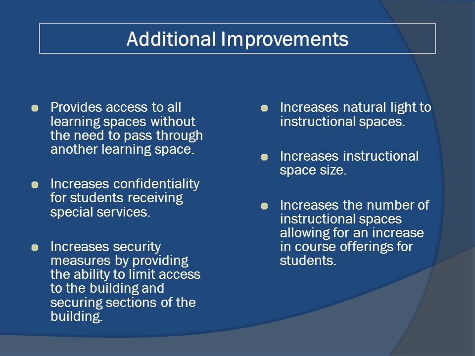 Provides access to all learning spaces without the need to pass through another learning space.