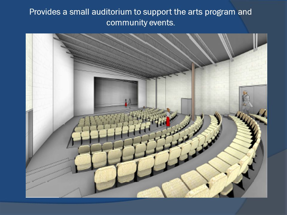 Provides a small auditorium to support the arts program and community events.