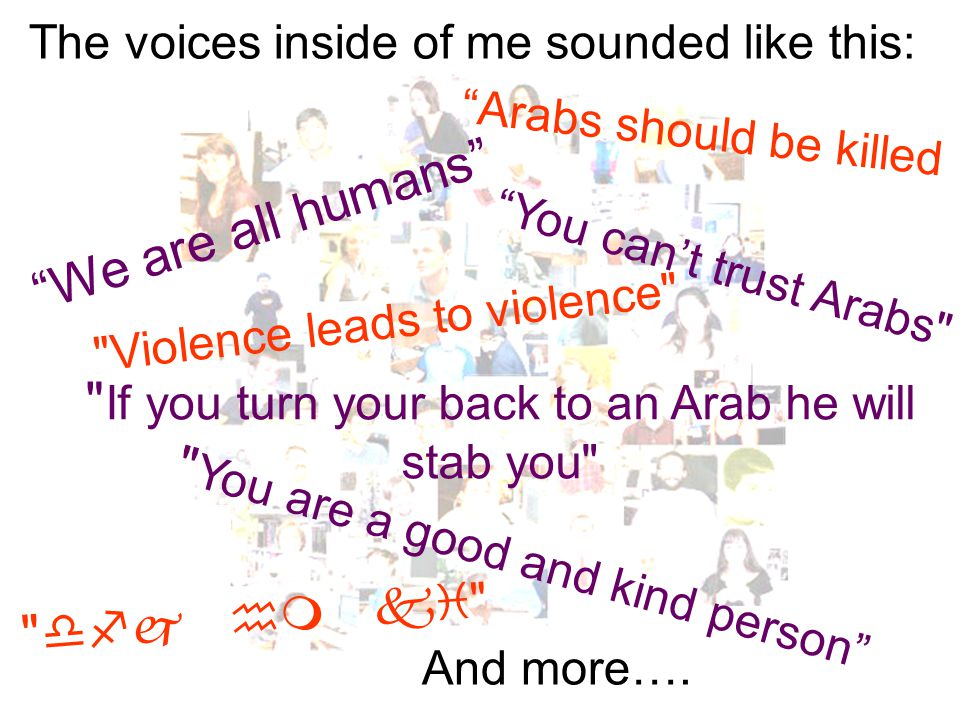We are all humans Arabs should be killed You can't trust Arabs Violence leads to violence The voices inside of me sounded like this: If you turn your back to an Arab he will stab you You are a good and kind person  And more….