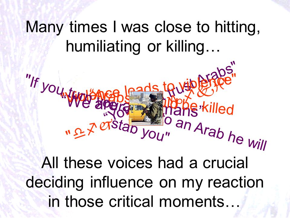 Many times I was close to hitting, humiliating or killing… All these voices had a crucial deciding influence on my reaction in those critical moments… We are all humans Arabs should be killed You can't trust Arabs Violence leads to violence If you turn your back to an Arab he will stab you 