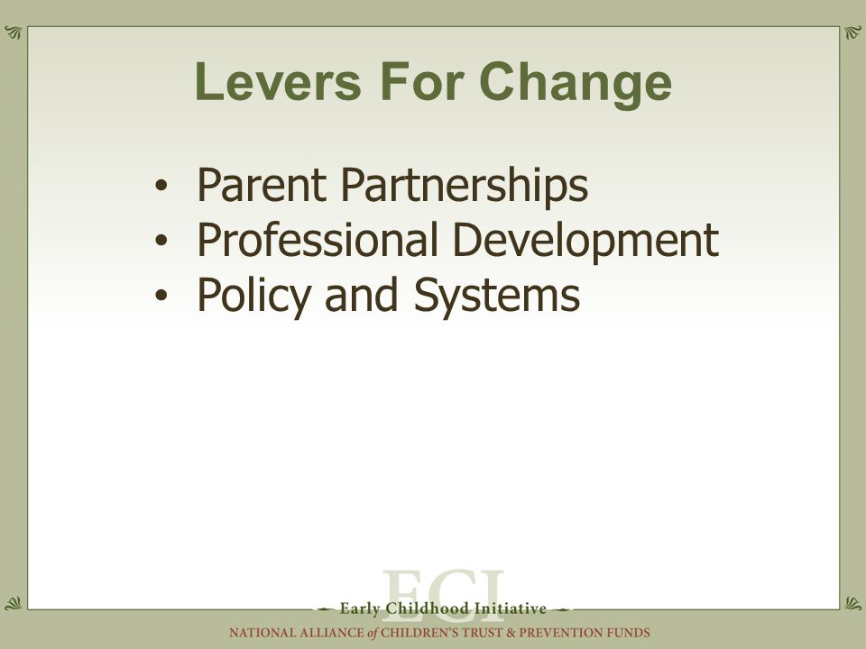 Levers For Change Parent Partnerships Professional Development Policy and Systems