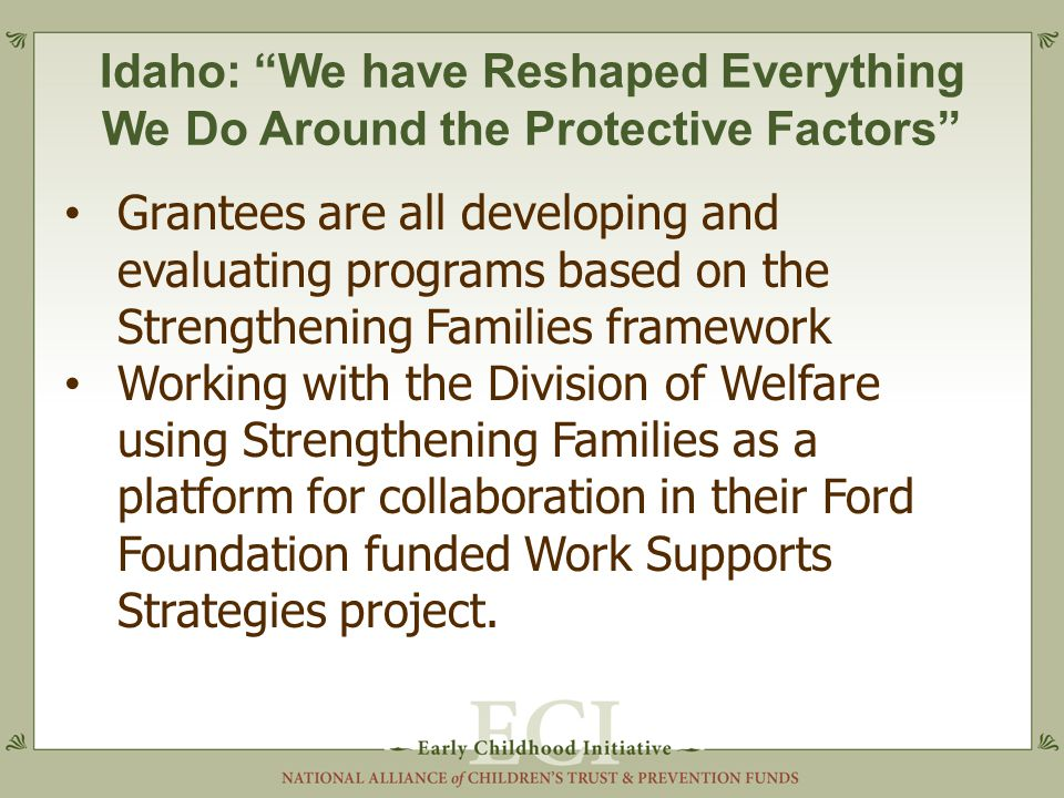 Idaho: We have Reshaped Everything We Do Around the Protective Factors Grantees are all developing and evaluating programs based on the Strengthening Families framework Working with the Division of Welfare using Strengthening Families as a platform for collaboration in their Ford Foundation funded Work Supports Strategies project.