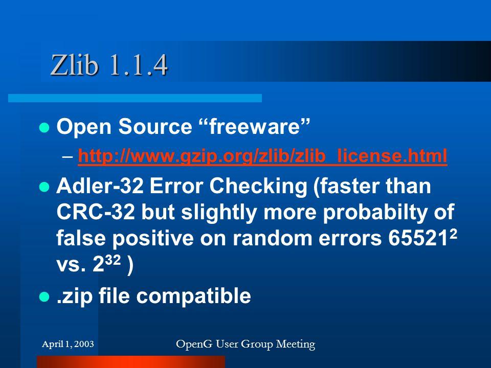 April 1, 2003 OpenG User Group Meeting Zlib 1.1.4 Open Source freeware –http://www.gzip.org/zlib/zlib_license.htmlhttp://www.gzip.org/zlib/zlib_license.html Adler-32 Error Checking (faster than CRC-32 but slightly more probabilty of false positive on random errors 65521 2 vs.