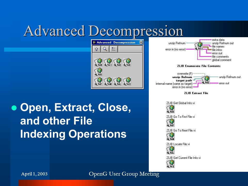 April 1, 2003 OpenG User Group Meeting Advanced Decompression Open, Extract, Close, and other File Indexing Operations