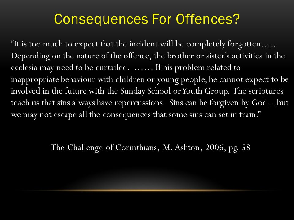 Consequences For Offences.
