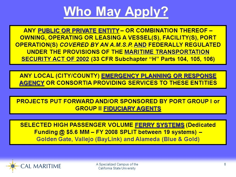 A Specialized Campus of the California State University 8 Who May Apply? PUBLIC OR PRIVATE ENTITY AND MARITIME TRANSPORTATION SECURITY ACT OF 2002 ANY
