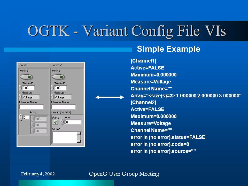 February 4, 2002 OpenG User Group Meeting OGTK - Variant Config File VIs [Channel1] Active=FALSE Maximum=0.000000 Measure=Voltage Channel Name=