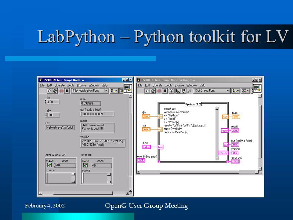 February 4, 2002 OpenG User Group Meeting LabPython – Python toolkit for LV